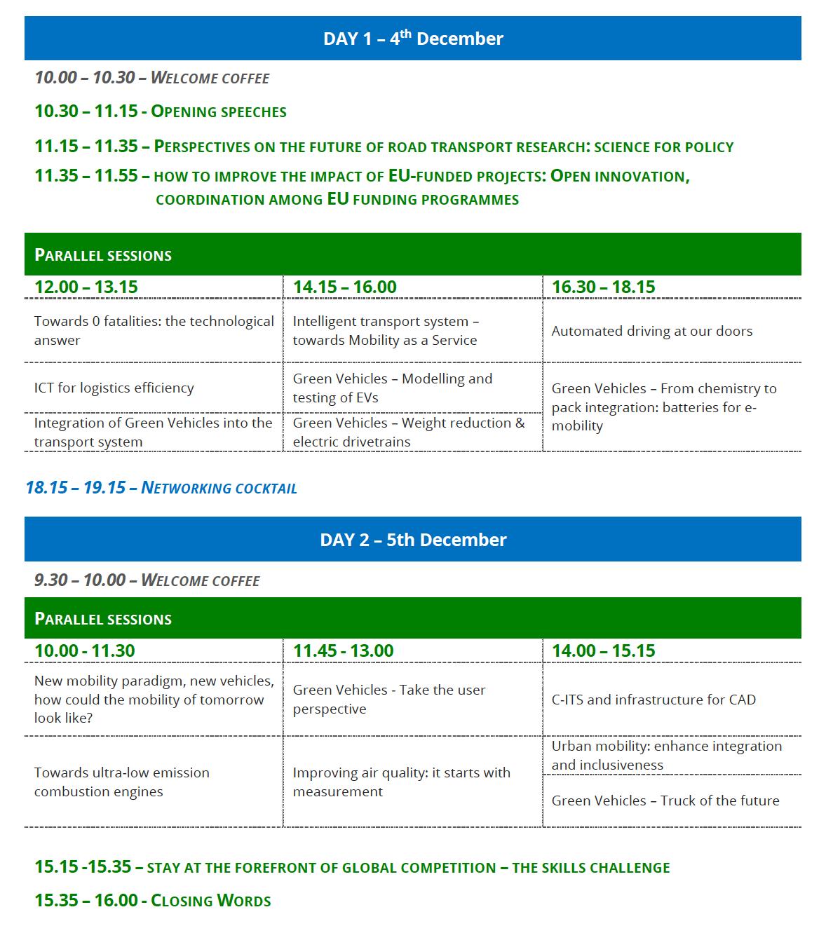 #H2020RTR19 European Conference Agenda December 2019 Brussels