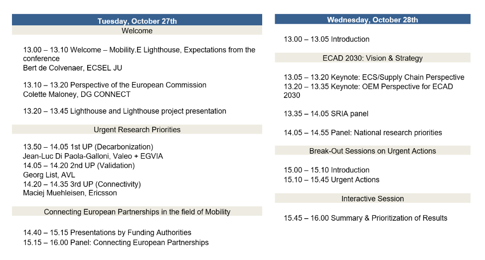 ECA2030 Online conference- Agenda available